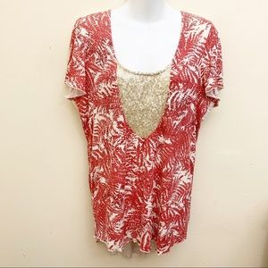 Sundance Red Off-white Style Knit LaceTunic Med